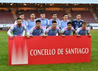 Once titular del Compostela. Foto: Amadeo Rey